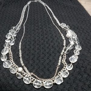 NY 3 strand sivertone necklace with plastic beads